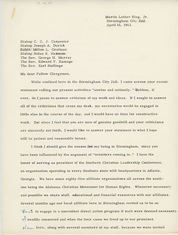 Image result for letter from the birmingham jail photo""