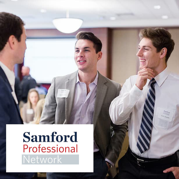 three male students networking