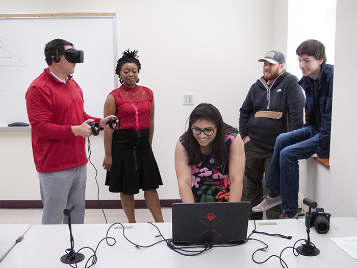 Computer science students test a new VR project