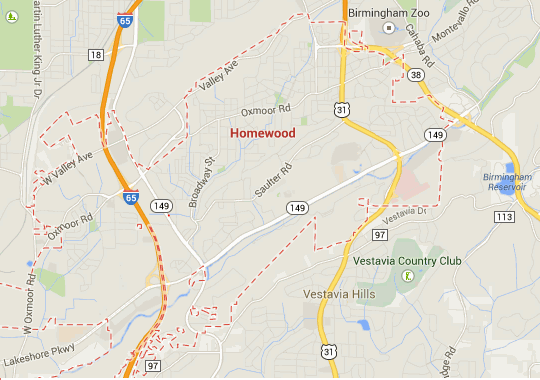 Google Map of Homewood Alabama