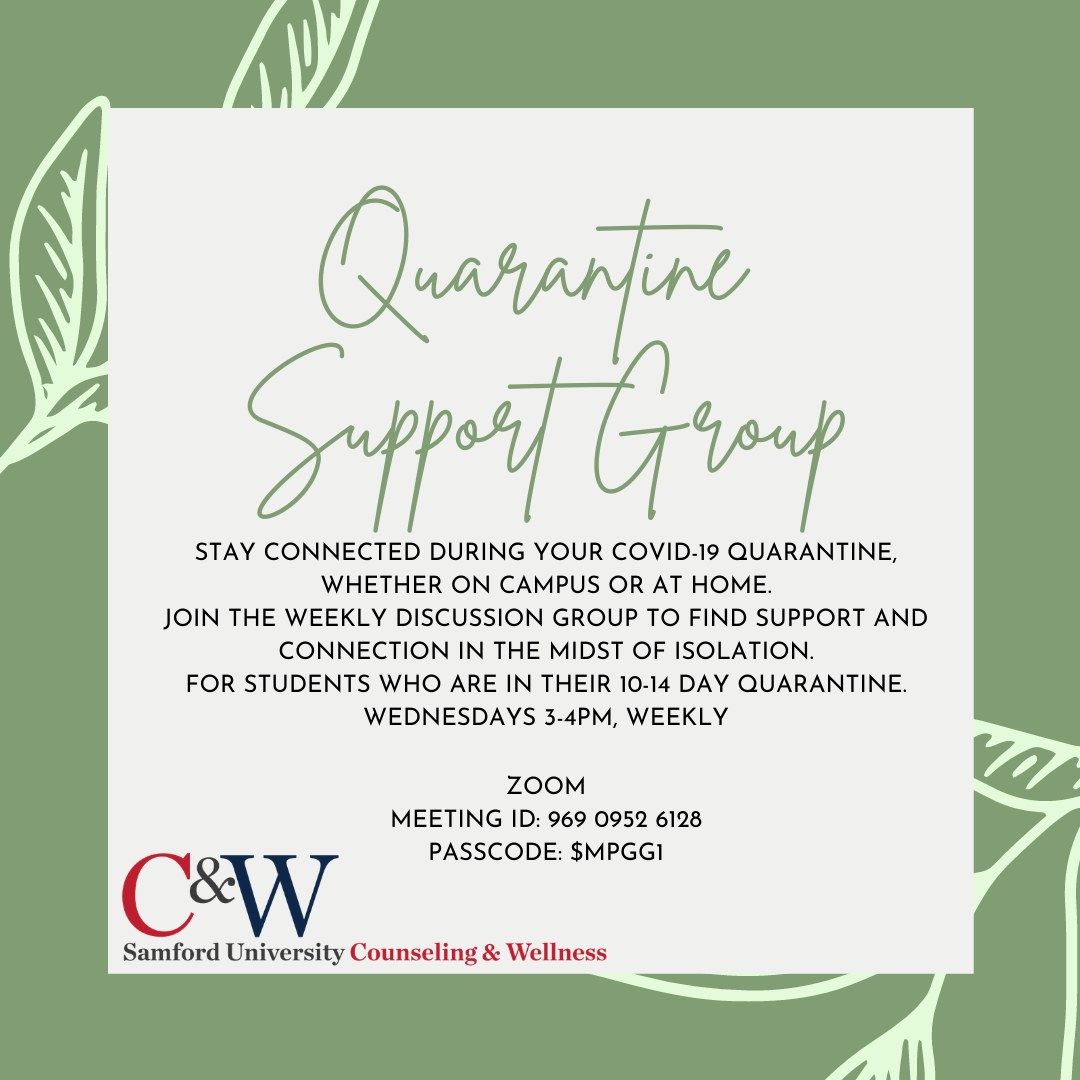 Quarantine Support Group information
