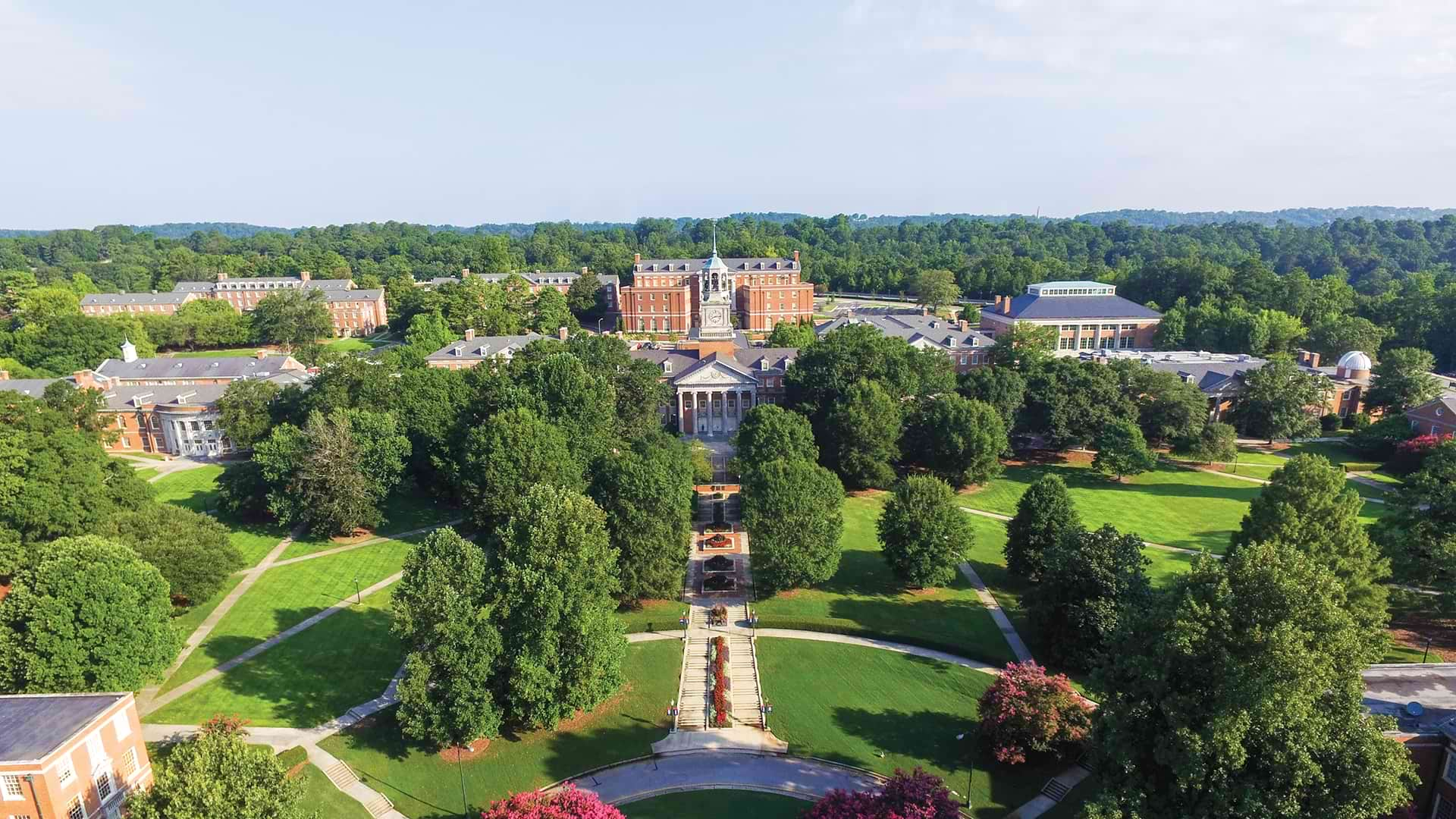 aerial view of campus looking north
