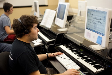 male student at music camp