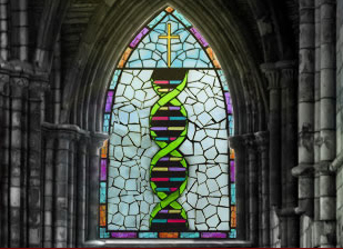 Stained Glass Window with Double Helix Design