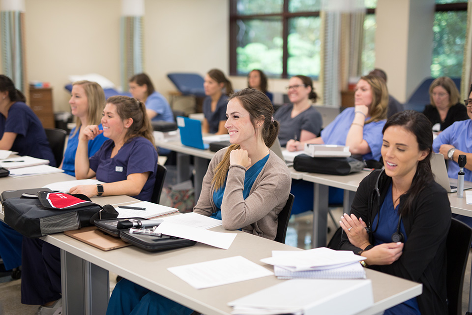 Nursing students in a classroom