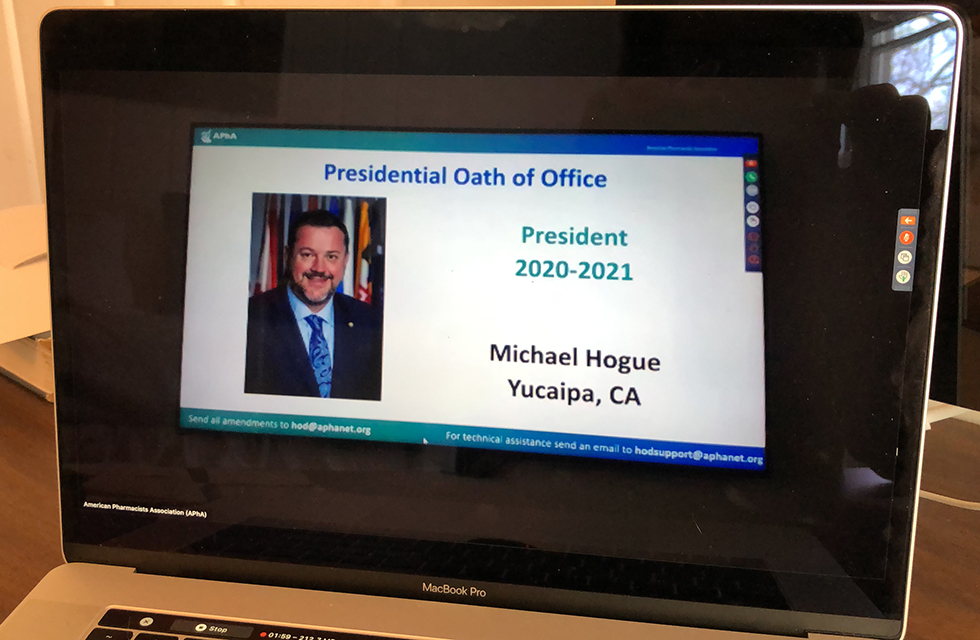 A computer screen showing the APhA virtual meeting