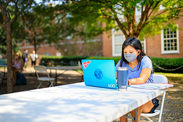 Student studying wearing mask
