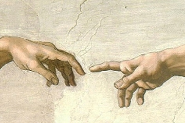 God and Adam Touching Fingers